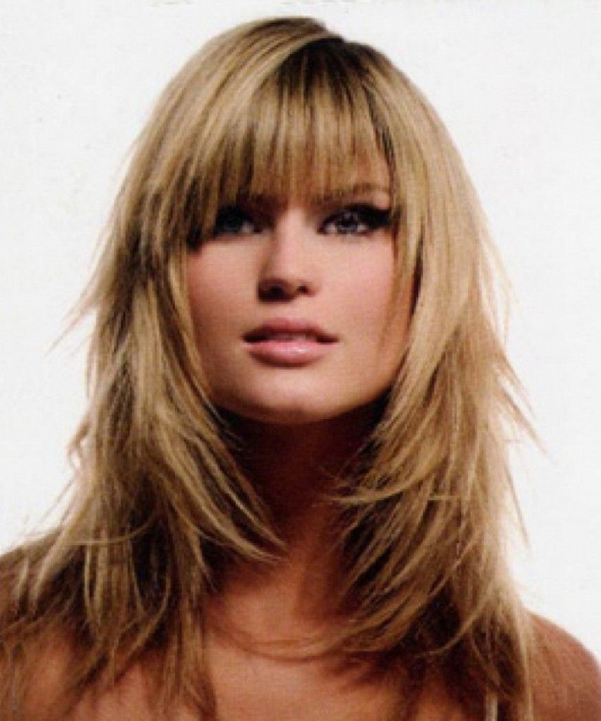 Layered Hairstyles Long Layered And Fine Hair On Pinterest Layered Hair With Bangs Hair Styles Long Hair With Bangs
