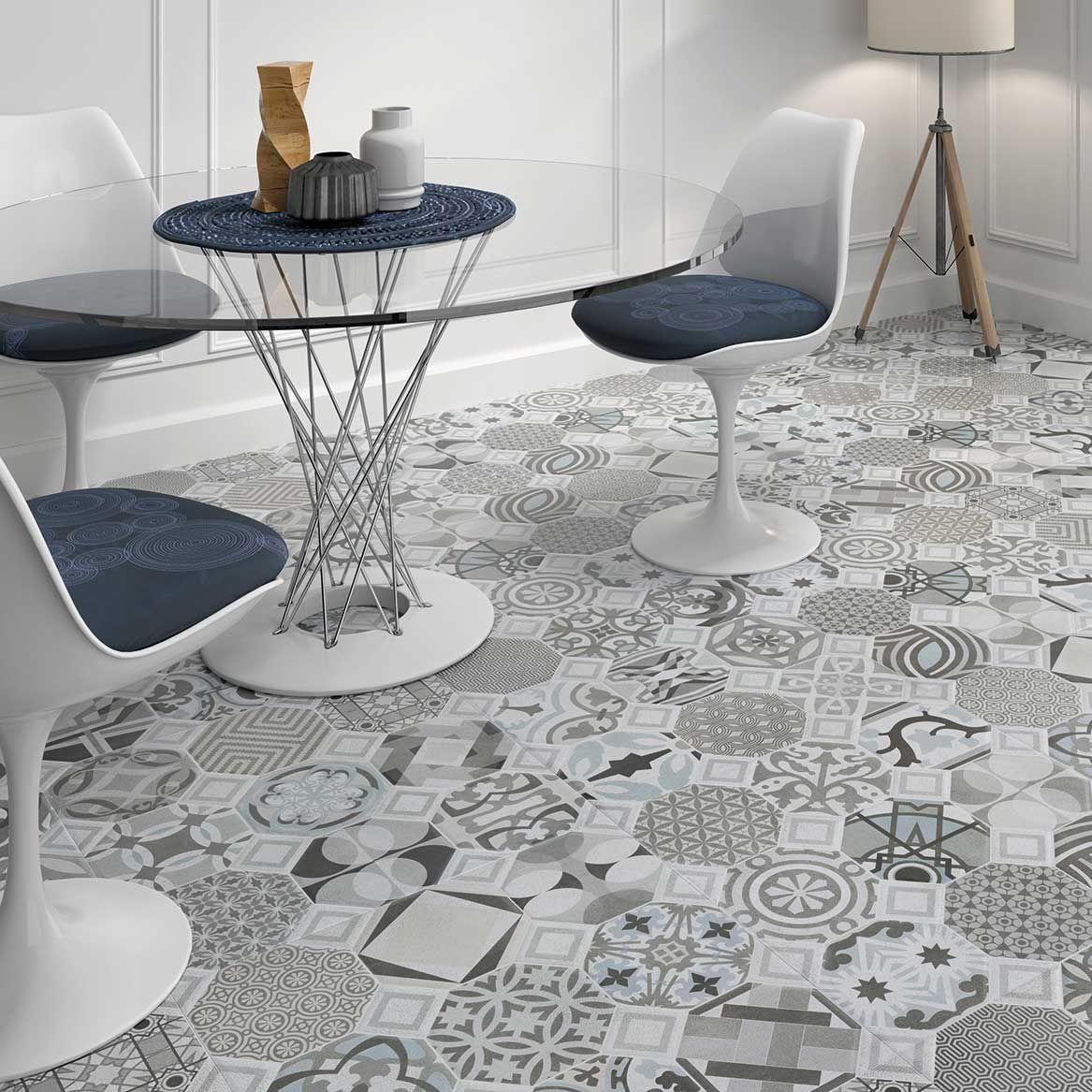 BlueGrey Patterned Floor Tiles Geotiles Flow Victorian