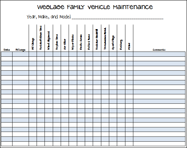 car repair tracker template for excel 2013