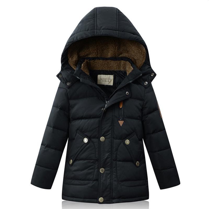 Children Kids Boys Down Jacket Winter Cotton Quilted Gradient Coat Color Hoodies