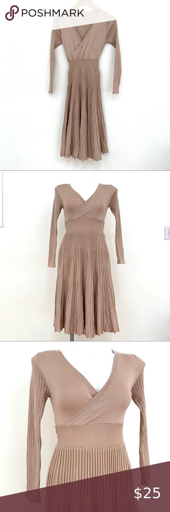 Tan Ribbed Long Sleeve Sweater Dress Size Small Sweater Dress Trending Outfits Long Sleeve Sweater [ 1740 x 580 Pixel ]