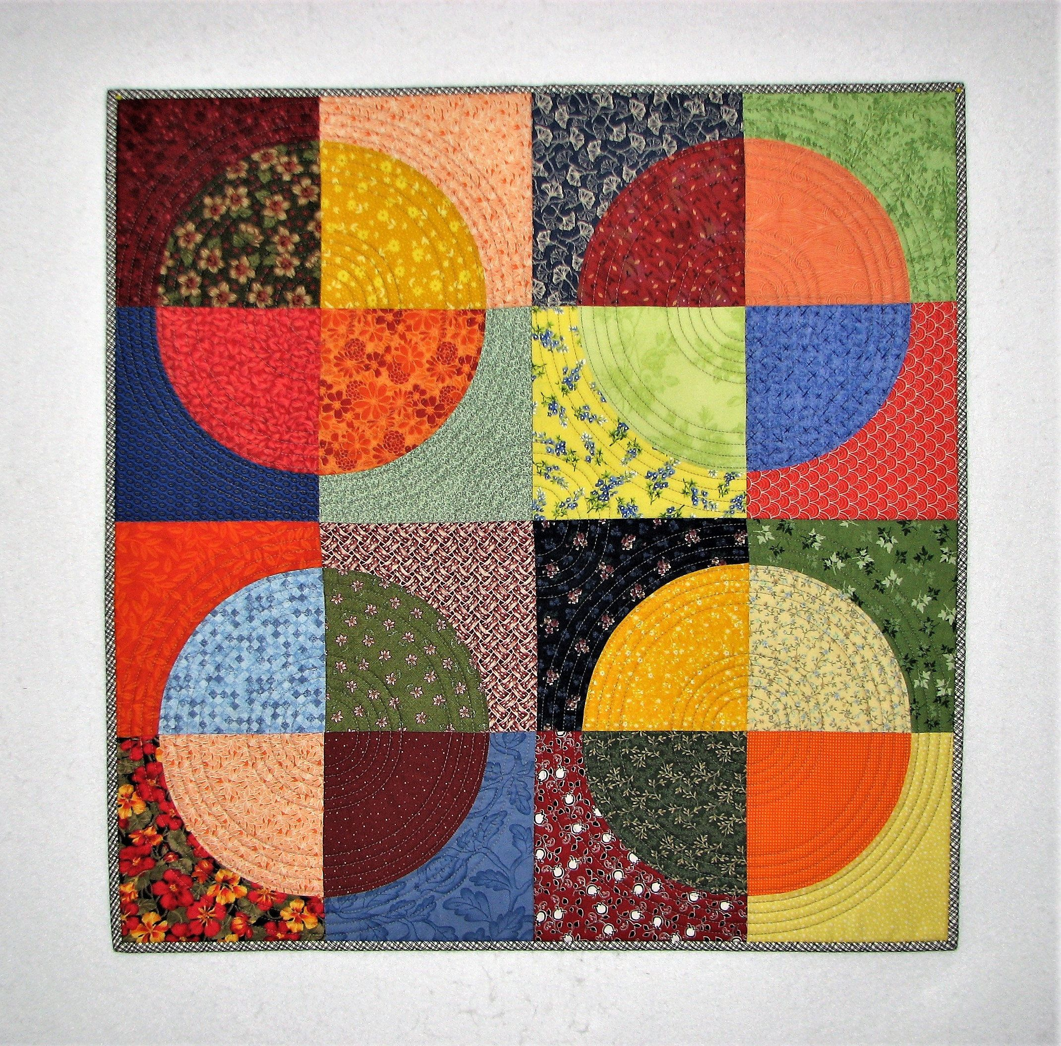 Modern Quilted Wall Hanging Boho Circles Art Quilt Handmade Multi Color Wall Quilt Drunkard S Path Quilt 27 75 X27 75 Wall Quilts Quilted Wall Hangings Art Quilts