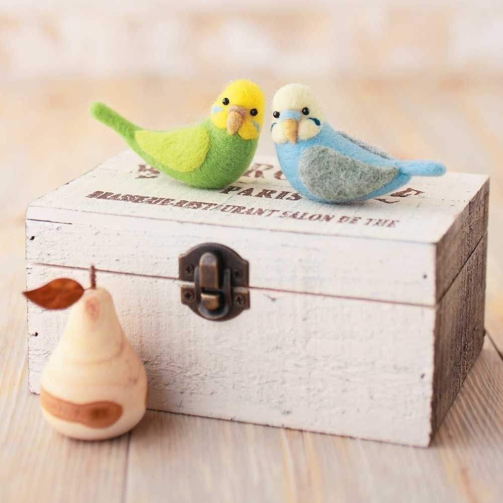 -Twin Budgerigar- Wool Needle Felted Animal Mascot Kit Craft Bird H441-321