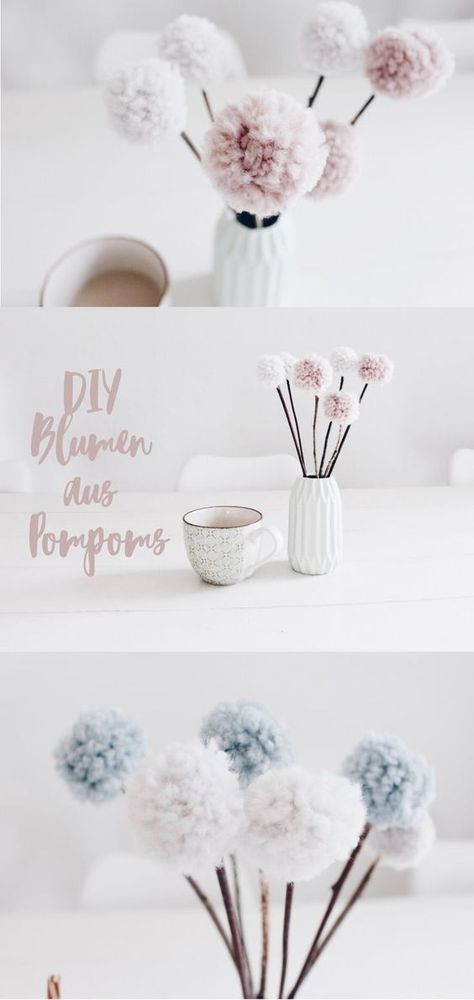 pom pom blumen tischdekoration mal anders pinterest selber machen blumen und deko. Black Bedroom Furniture Sets. Home Design Ideas