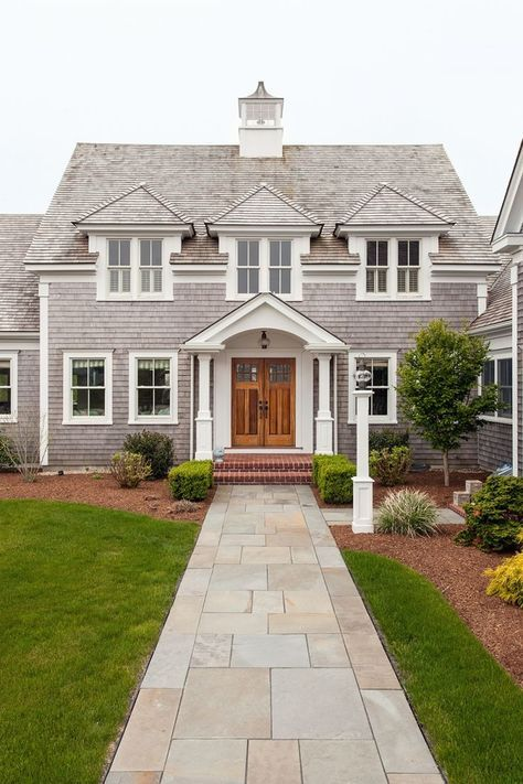 16 Enchanting Modern Entrance Designs That Boost The Appeal Of The Home: Cape Cod House Exterior, House Exterior, House Colors