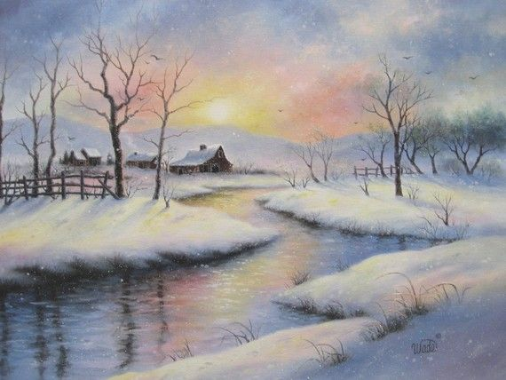 Peaceful Winter 18x24 Original Oil Painting Barns Country Winter Snowscene River Cabin Sunset Snow Landscape Painting Winter Painting Painting Snow