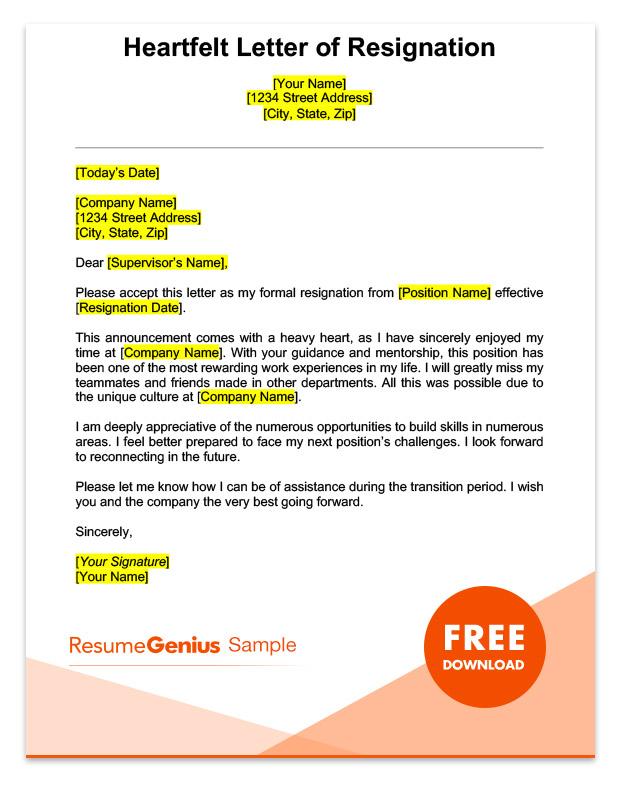 LifeSpecific Resignation Letters Samples Resignation