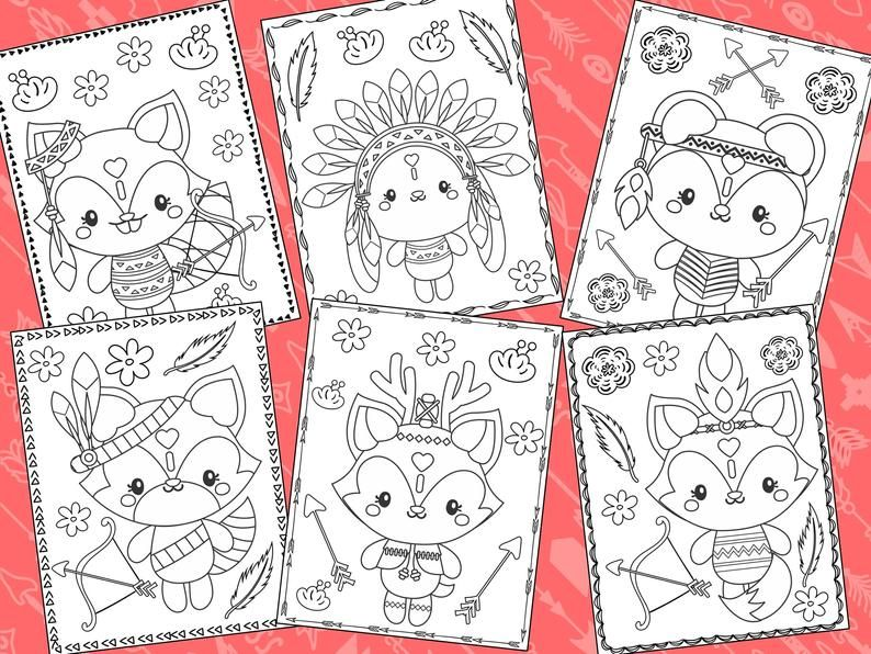 Woodland Tribal Animals Coloring Pages The Crayon Crowd Etsy Animal Coloring Pages Unicorn Coloring Pages Coloring Pages