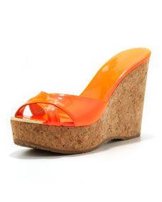 Perfume Crisscross Patent Wedge Sandal, Neon Flame