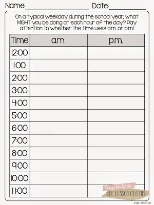 Hereu0027s a page where students think about times in the day and - time worksheets