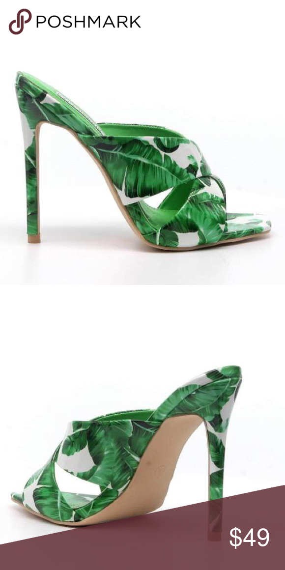 Monstera Palm Tropical Green Stiletto Heels Stiletto Heels Heels Fashion