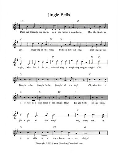 Jingle Bells Lead Sheet Available For Free At Piano Song Download