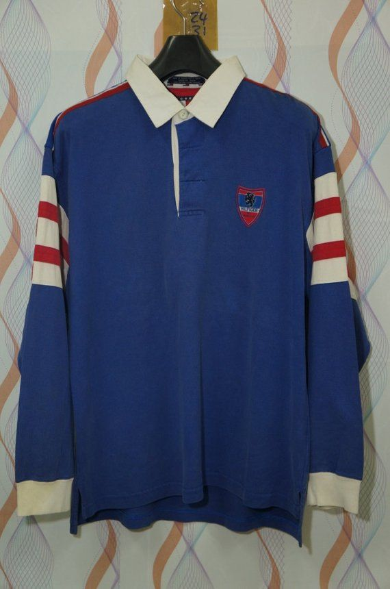 8eea7ffb Vintage 90s Tommy Hilfiger Cookies Patches Rugby Shirt Size Large L Sailing  Gear Big H Logo Colorblo