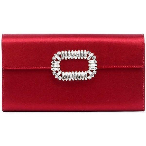 Roger Vivier Floral Crystal-Buckle Glitter Fabric Envelope Clutch Bag N17it3Utvr