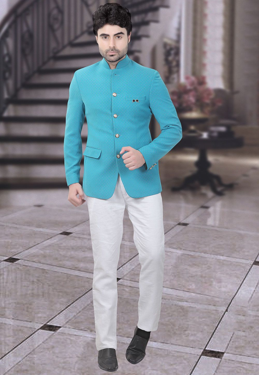 334c3a8e7 Woven Terry Rayon Jacquard Jodhpuri Suit in Light Blue in 2019