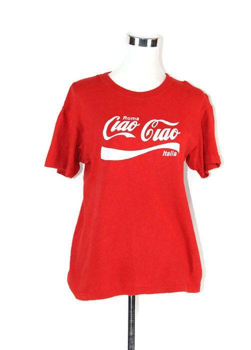 f25437bcca942 Italy Tee - Ciao Ciao Classic Coca Cola Vintage Roma Italia Red Tee ...