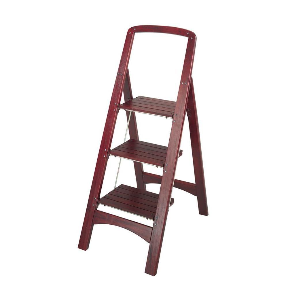 Rockford 3-Step Mahogany Wood Step Stool Ladder with 225 lb. Load ...