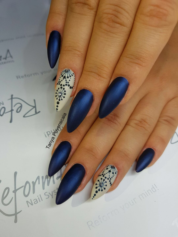 Blue Nail Polish Manicure Designs: Mettalic Matte Blue Nails