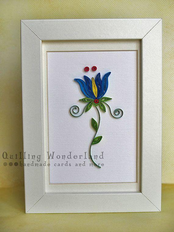 Folk floral tulip paper quilling home decor blue red for Quilling home decor