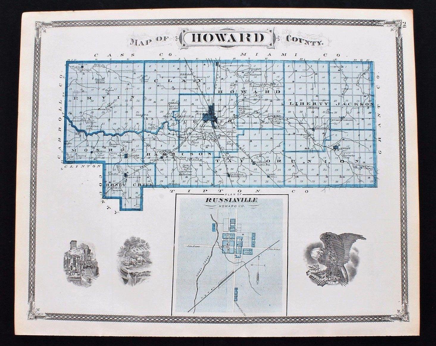 1876 Howard County Indiana Map Kokomo Jerome Russianville Railroads on prescott arizona map, pinal county arizona map, sonora and arizona map, city of phoenix arizona map, state of arizona county map, cochise county arizona map, mingus mountain arizona map, arizona large color map, coconino county arizona map, mohave county arizona map, arizona county lines map, flagstaff arizona map, san juan county arizona map, mount baldy arizona map, apache county arizona map, gila county arizona map, navajo county arizona map, city of cottonwood arizona map, sun city arizona zip code map, black canyon city arizona map,