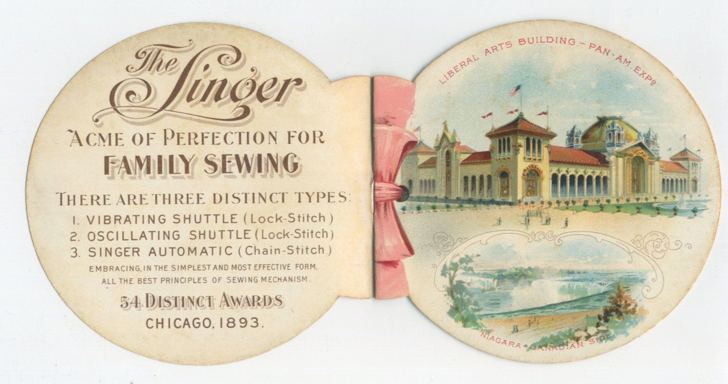 Singer Sewing Machine Pan American Expo Chromo Booklet | eBay