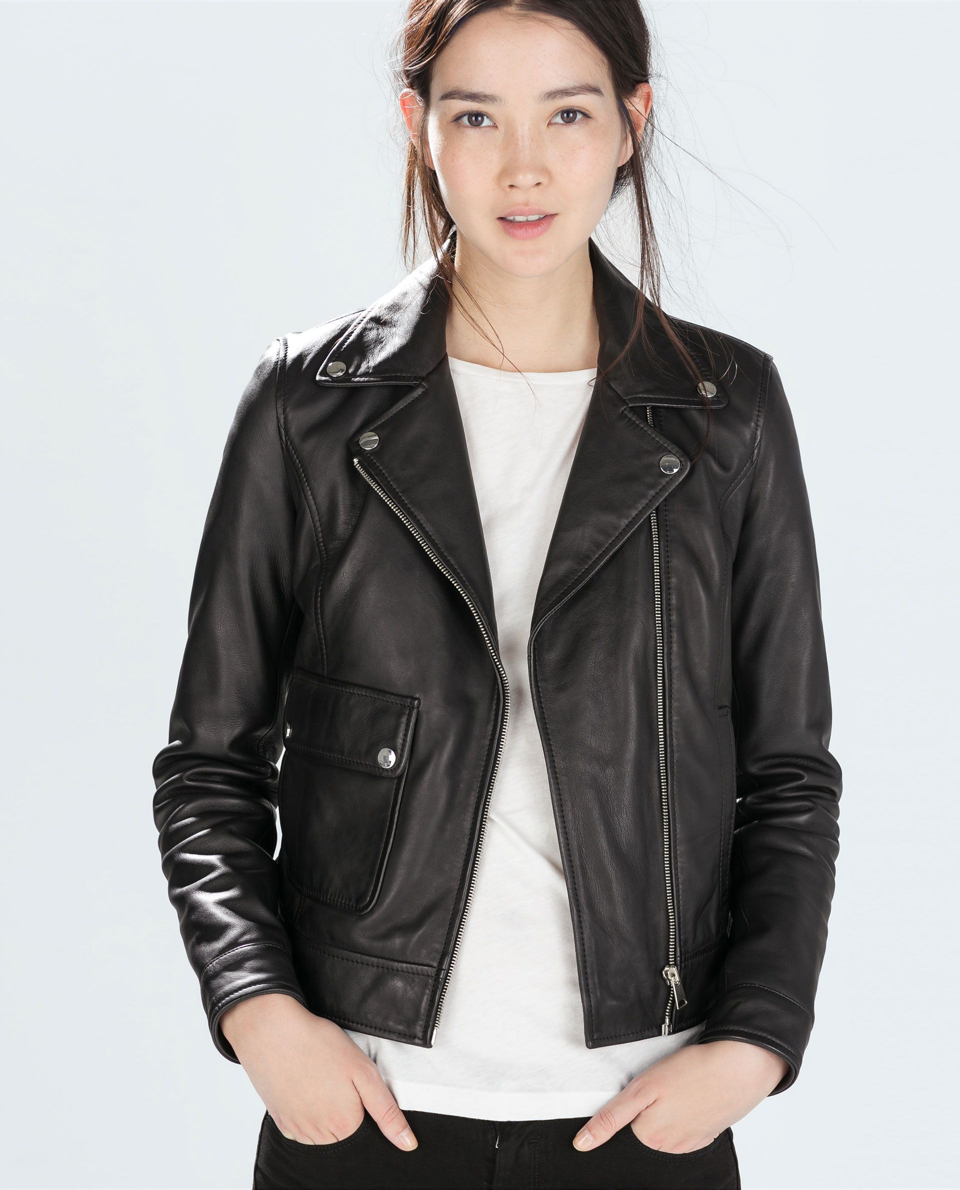 Image 4 of LEATHER BIKER JACKET from Zara Leather jacket