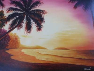 24 X 36 Oil Painting Art Sunset Beach Palm Trees Sunrise Tide