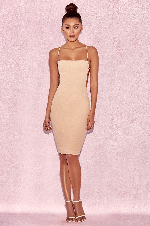 Clothing   Bodycon Dresses    Carenza  Nude Bib Dress  efa908e32f9c