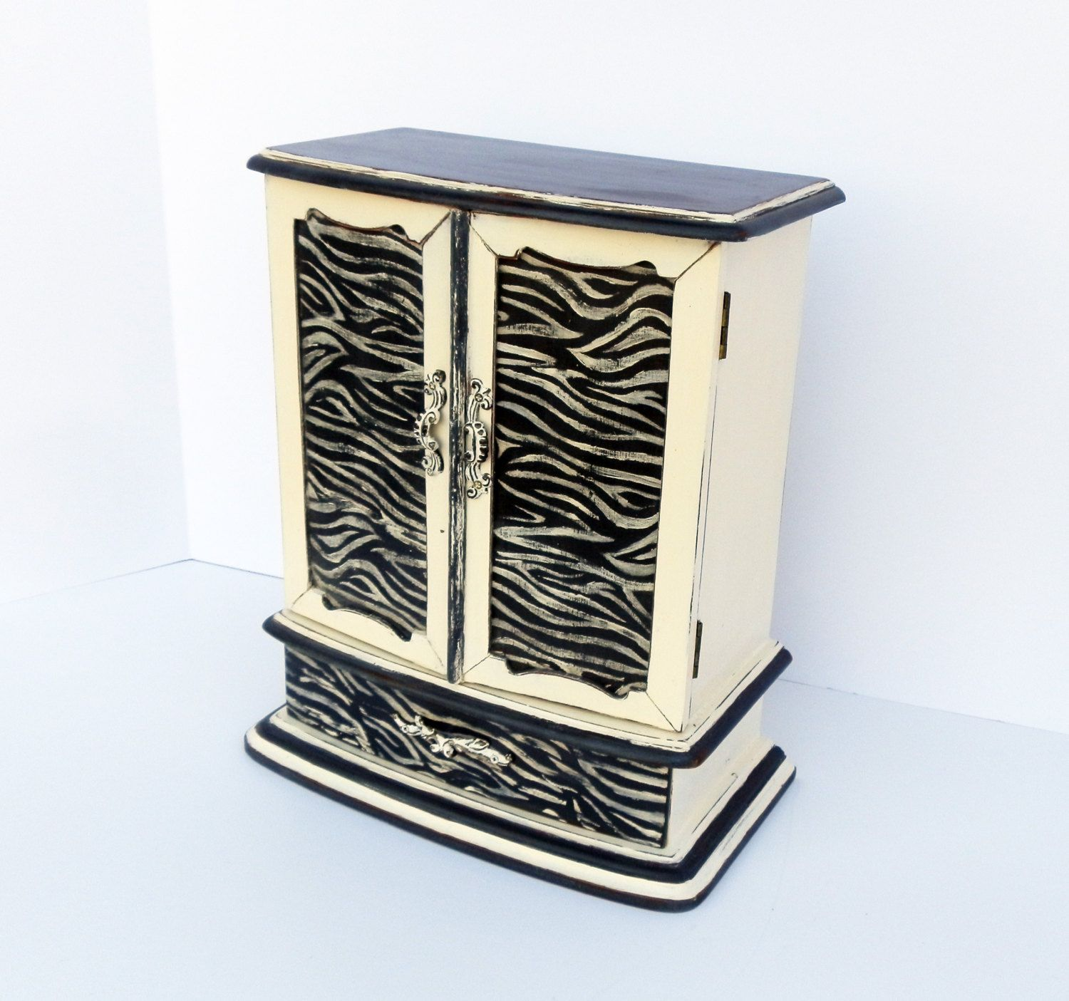 Jewelry Box Ladies Girls Zebra Print Hand Painted Animal Print