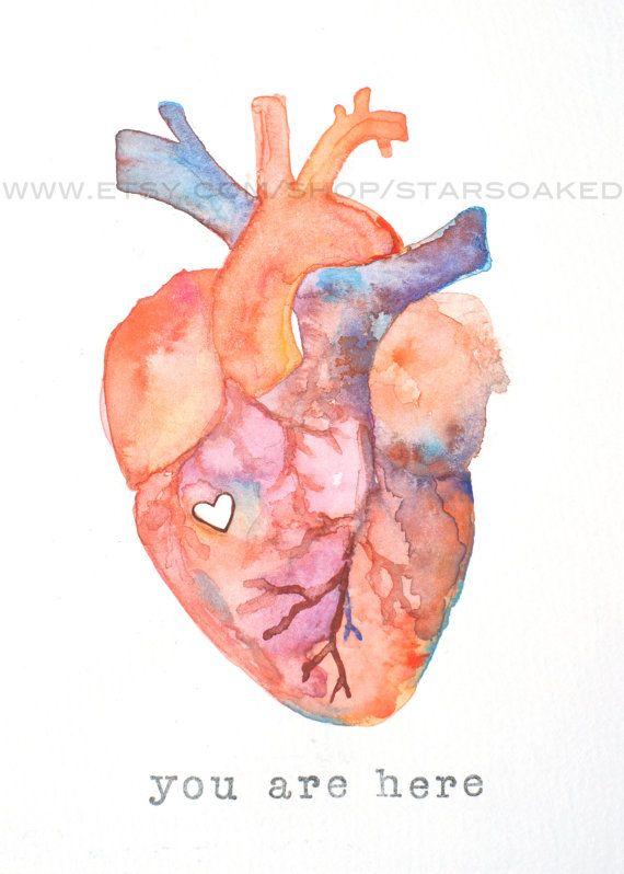 Anatomy Of Love Human Heart Watercolor Print Diy Inspiration