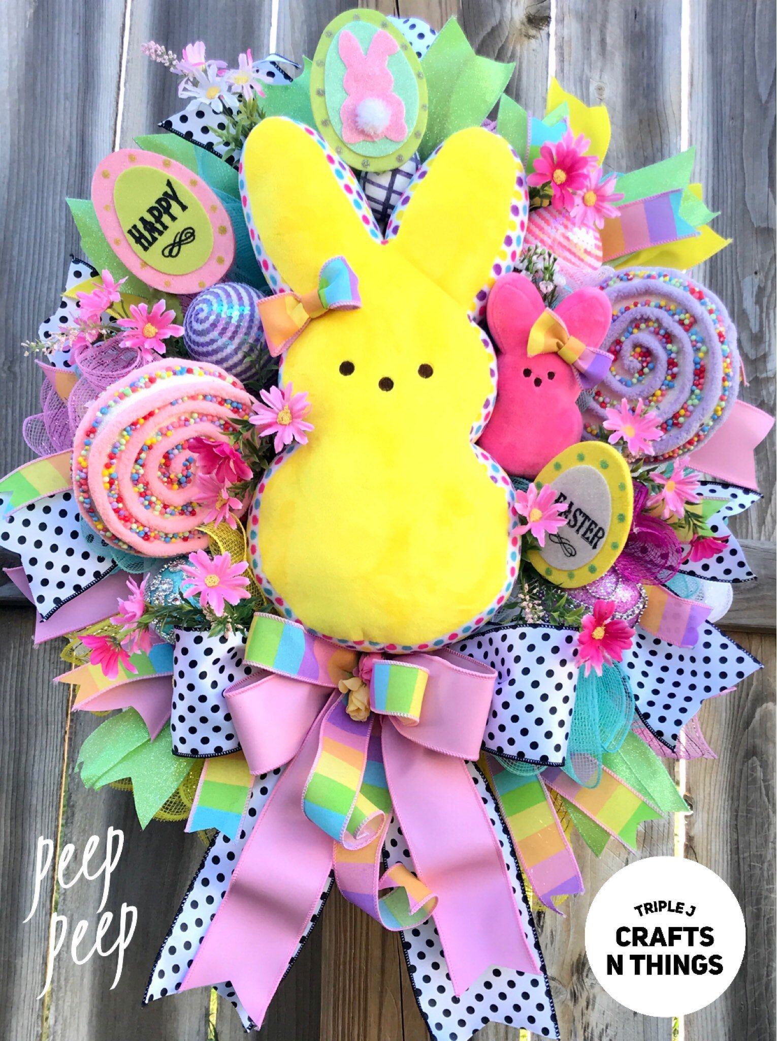 Photo of Easter Wreath for front door, Easter Peeps Wreath, Peeps Swag Door, Easter Door Hanging, Yellow Peep Wreath, Peeps Decor, Pastel Easter,