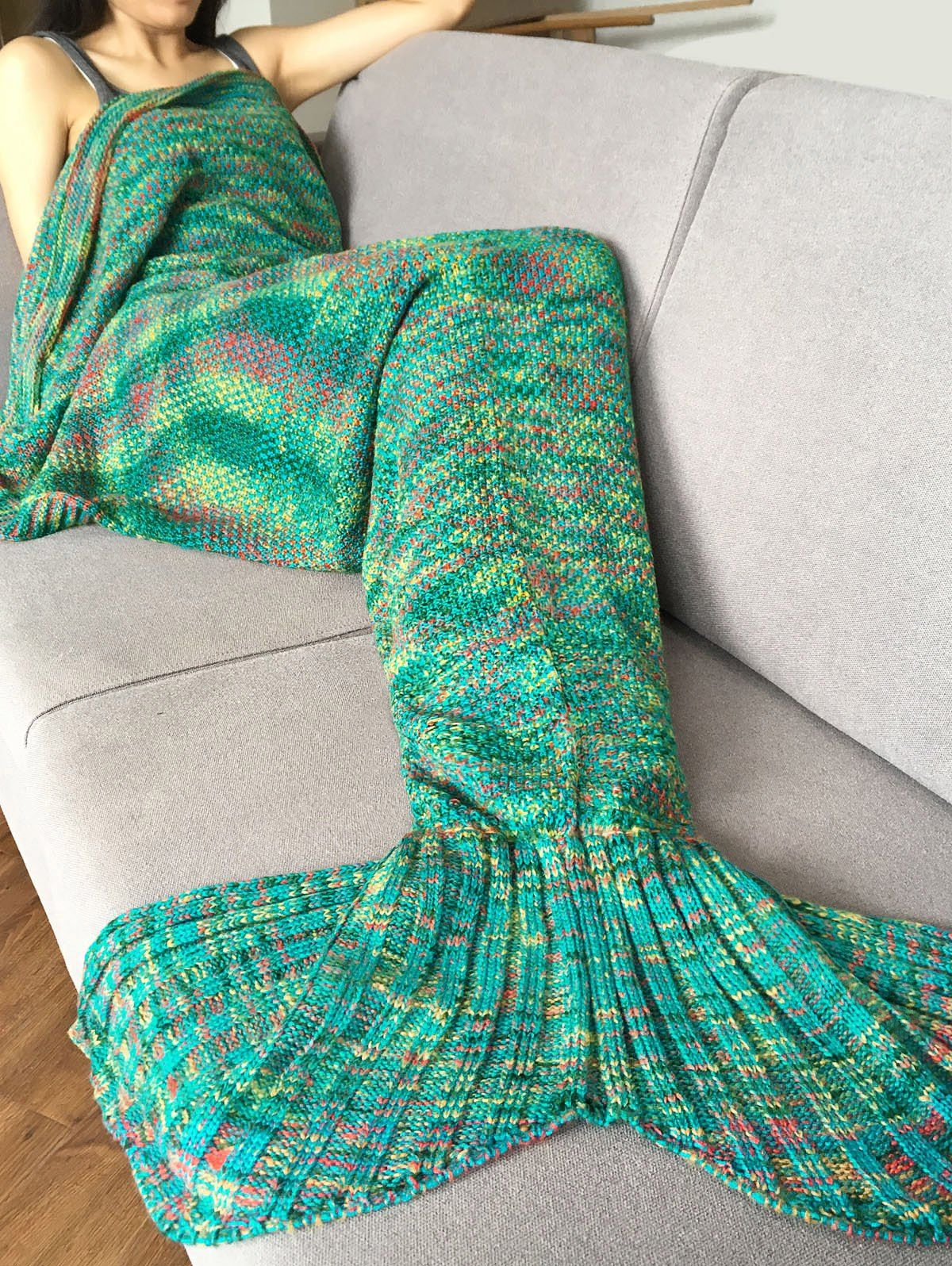 d29cbe55c41 Stylish Crochet Knitted Super Soft Mermaid Tail Shape Blanket For Adult