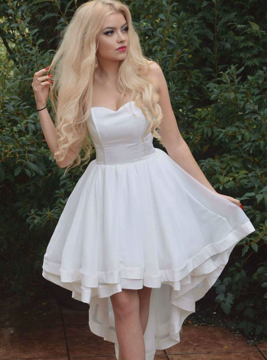 High low prom dresses long simple sweetheart white