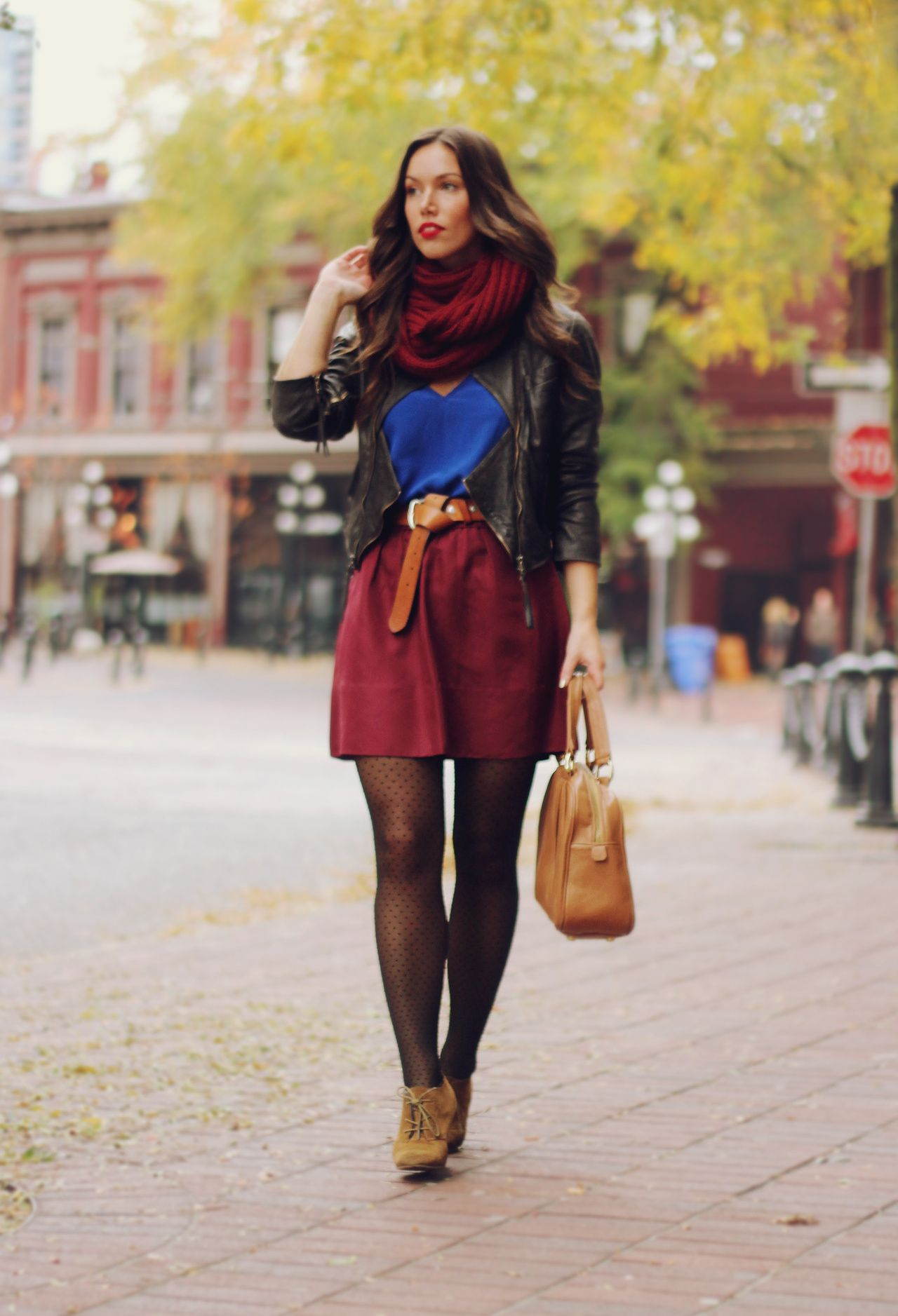 Big scarf, patterned tights, love it!