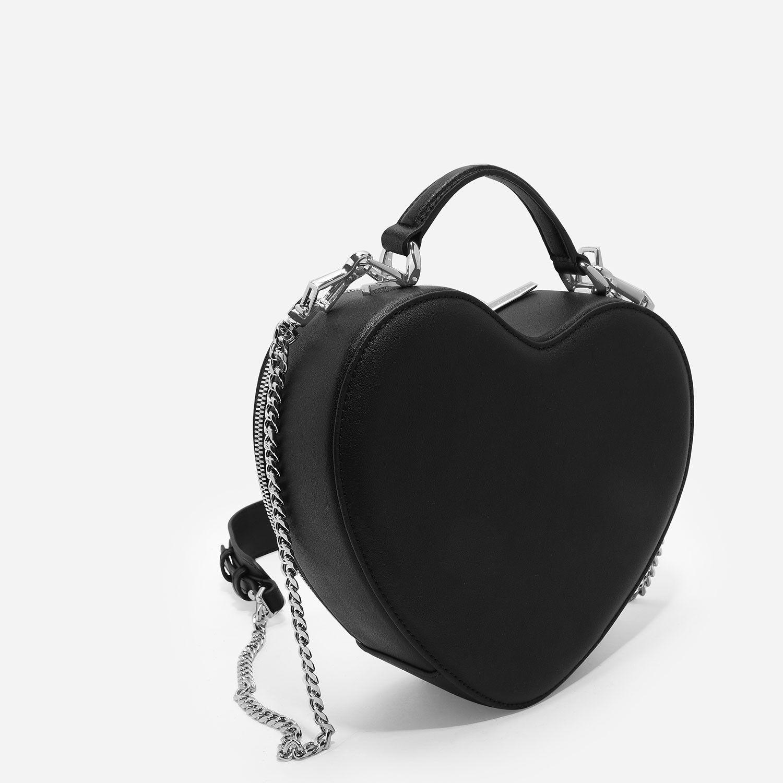 32bb12a1c982 Black Heart-Shaped Crossbody Bag
