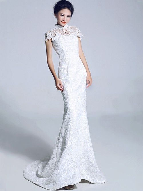 White Lace Fishtail Cheongsam Qipao Chinese Wedding Dress
