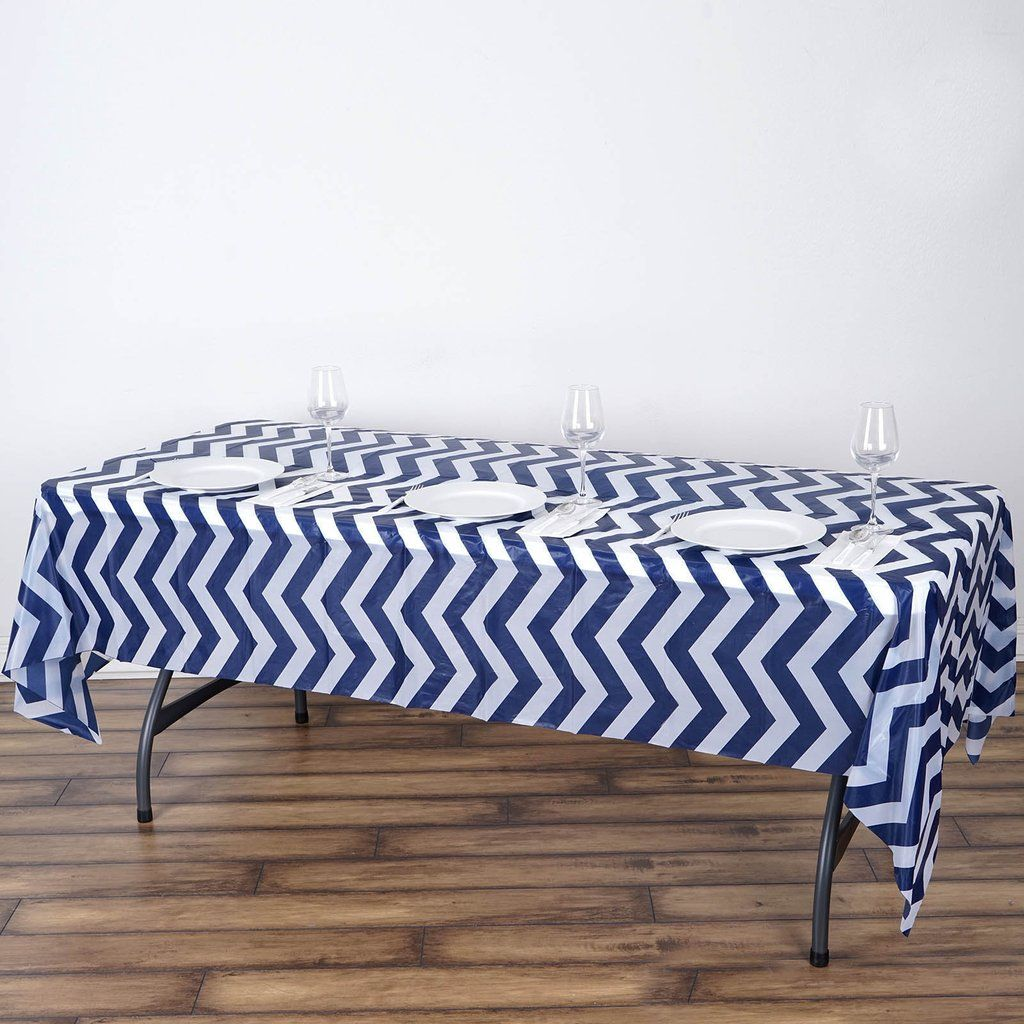 54 X 108 Navy Blue 10 Mil Thick Chevron Waterproof Tablecloth Pvc Rectangle Disposable Tablecloth In 2020 Waterproof Tablecloth Chevron Tablecloth Vinyl Tablecloth