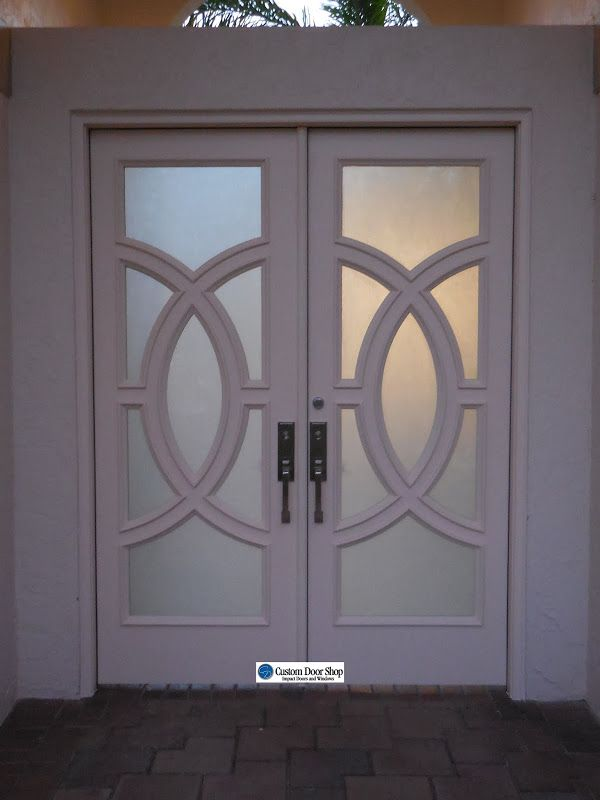 White Front Doors Custom Double Front Doors With Circle Design