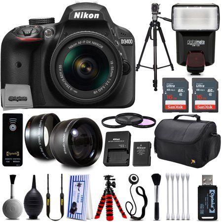 Free Shipping. Buy Nikon D3200 Digital SLR Camera + 18-55mm AF-S DX Nikkor VR + 2.2X Telephoto and 0.43X Macro Lens Kit + 32GB Memory + Bounce Swivel Flash + Tripod + Padded Case Bag + UV CPL FLD Filter Bundle + Remote at Walmart.com
