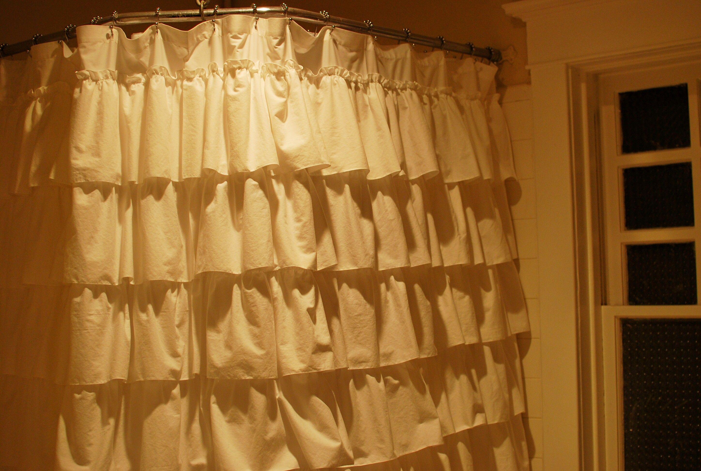 White Ruffled Shower Curtain For The Home Pinterest