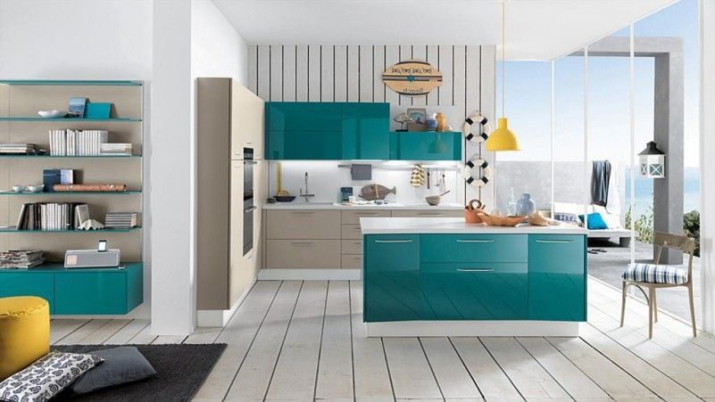 Winsome Suitable Color For Kitchen Design With Turquoise ...