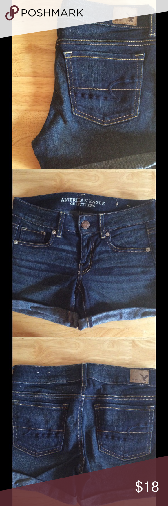 American Eagle Dark Jean Shorts Mid-length, inseam about 3 inches. Super comfortable and very lightly worn, like new! Open to offers! American Eagle Outfitters Shorts Jean Shorts