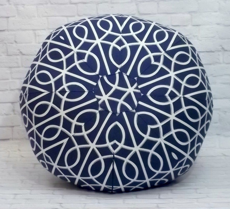Geometric Navy and White Floor Pouf (80.00 USD) by CallieZoey