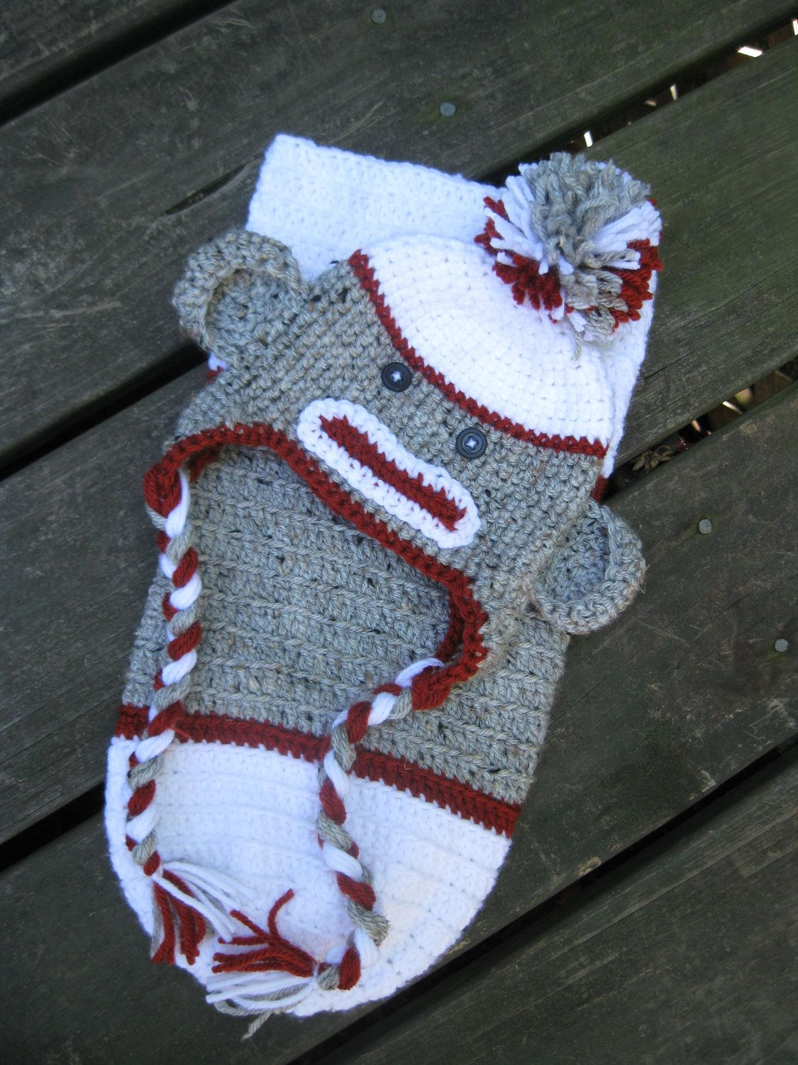 Sock monkey crocheted hatbeanie and cocoon set you choose size sock monkey crocheted hatbeanie and cocoon set you choose size dt1010fo