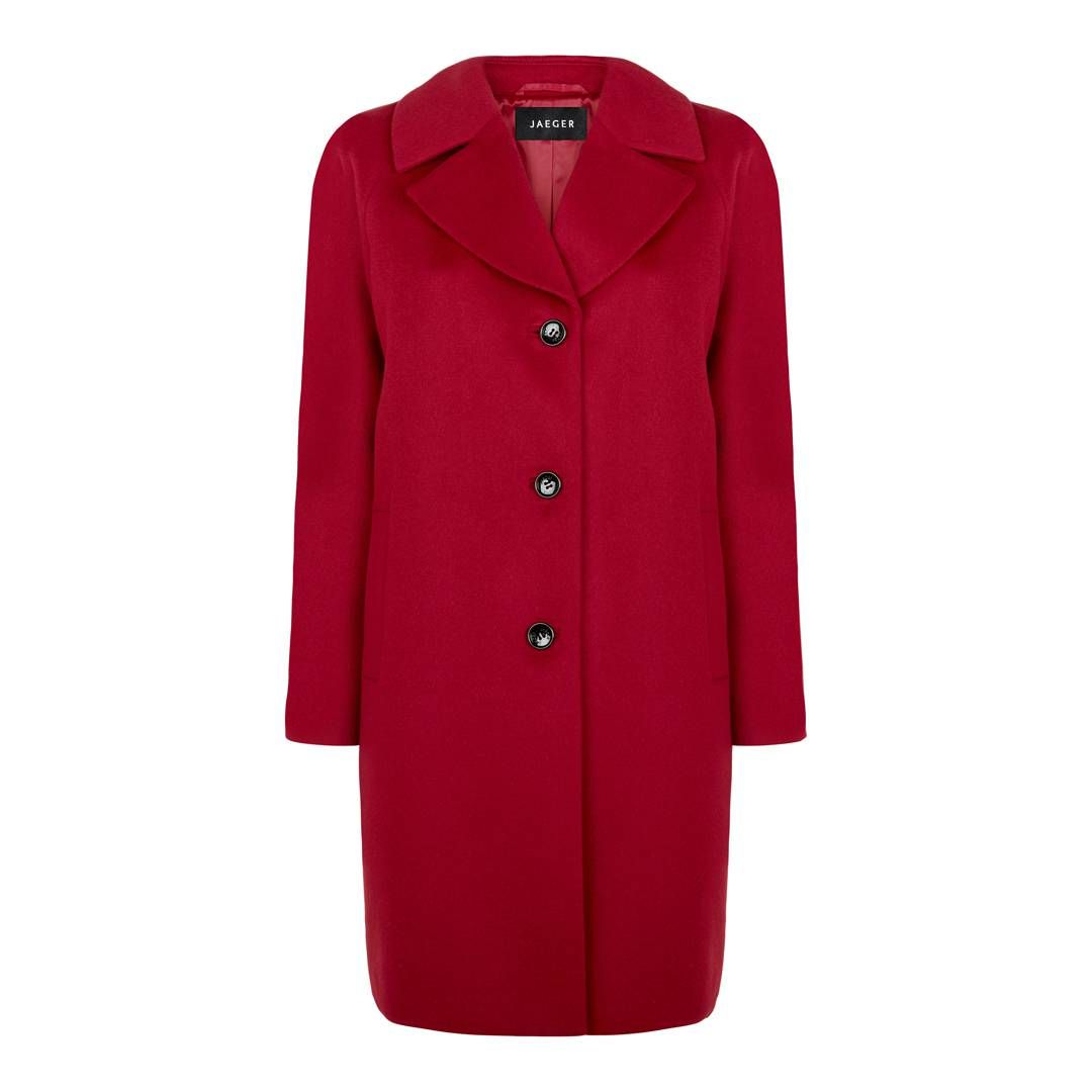 Red Three Button Wool Coat - Women - Outlet | BrandAlley