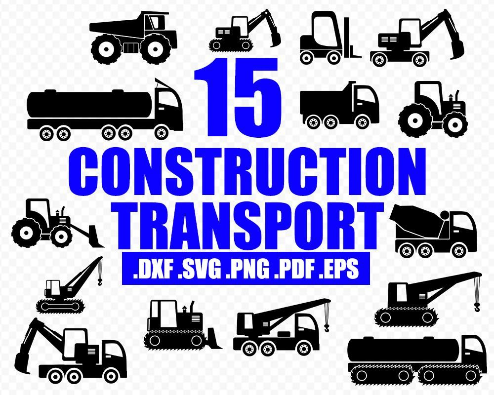 Construction Transport Digger Vehicle Svg Digger Svg Excavator Vector Tractor Silhouette Construction Machine Svg Excavator Clipart Svg Silhouette Clip Art Tractor Silhouette