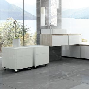 Modular and minimal contemporary bathroom furniture.   Plaza by Adatto Casa from C P Hart