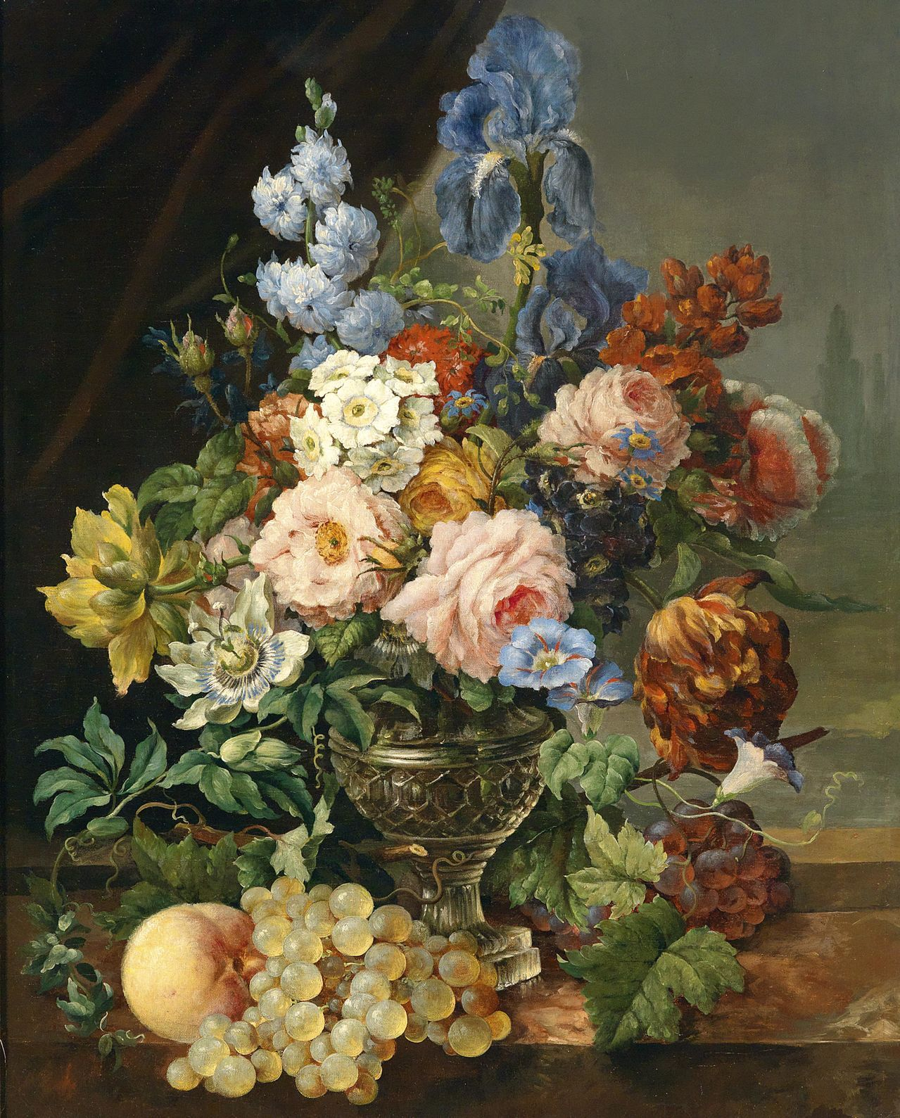 A Vase Of Flowers, The Grapes And Peaches