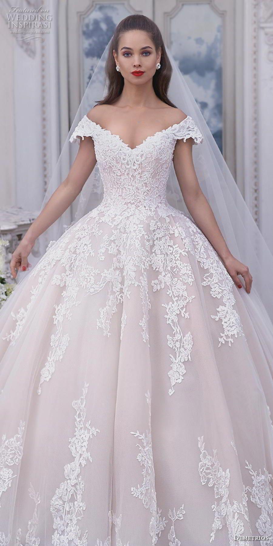 0ee1f908fa7 demetrios 2019 bridal cap sleeves off the shoulder v neck heavily  embellished bodice hem blush princess ball gown a line wedding dress chapel  train (2) lv ...