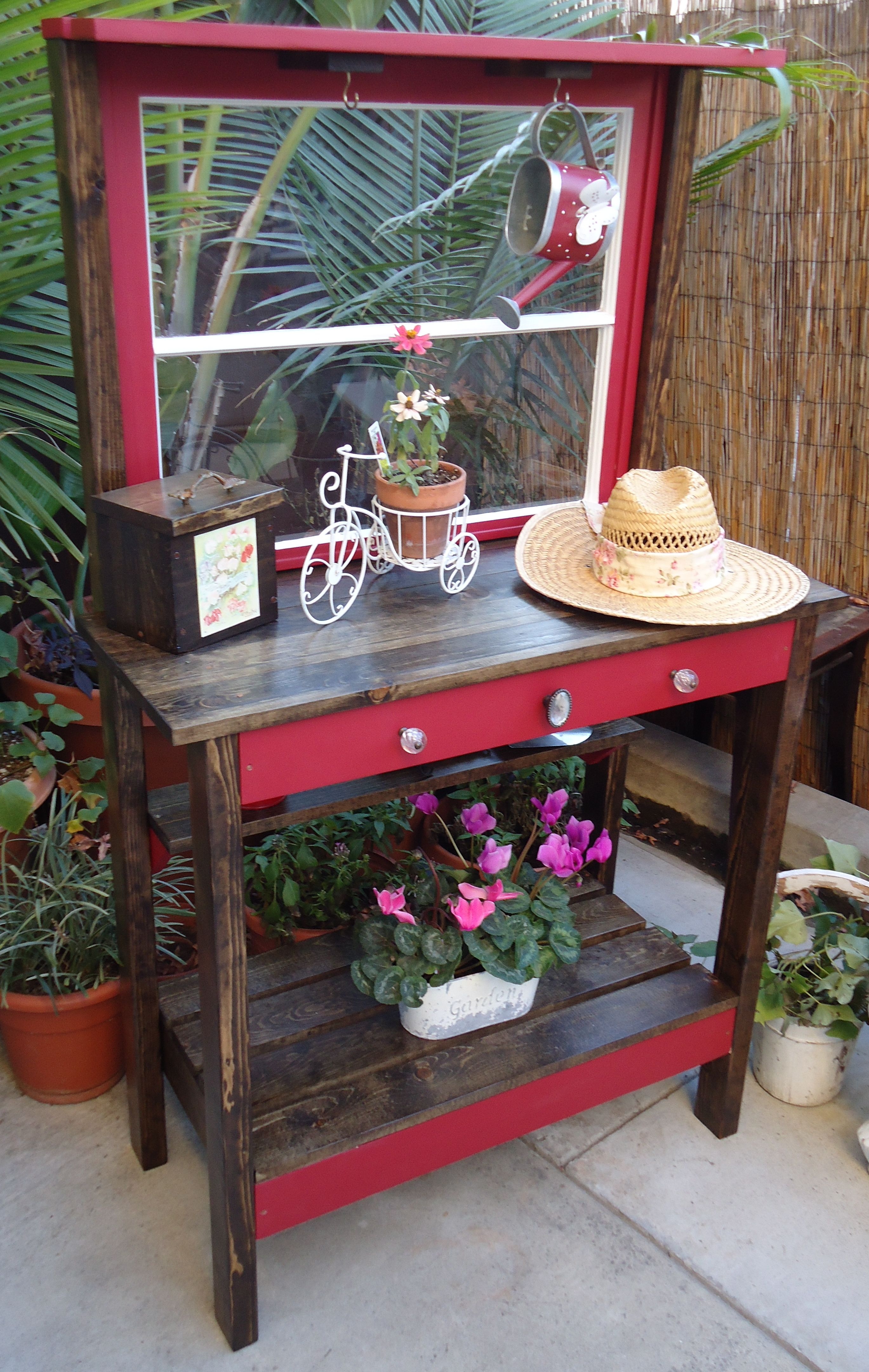 Two Pane Vintage Window Potting Bench  Available Sold